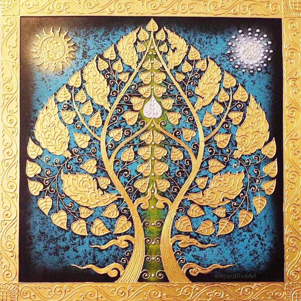 Bodhi tree bodhi leaf tree art tree wall painting buddha tree acrylic tree painting buddha bodhi tree Asian paintings Asian artwork oriental paintings oriental art oriental decor