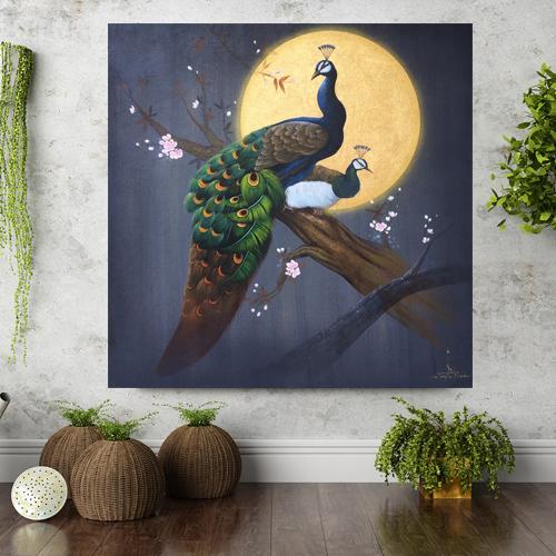Peacock Acrylic Painting Golden Moon
