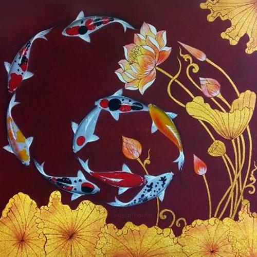 lotus koi fish painting Koi fish paintings on canvas famous koi fish painting chinese koi fish painting koi fish painting feng shui 9 koi fish painting