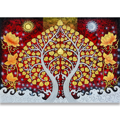 bodhi tree wall painting bodhi tree painting buddha tree painting bodhi tree art bodhi tree wall art most popular painting in thailand thai art asian art gold leaf wall art