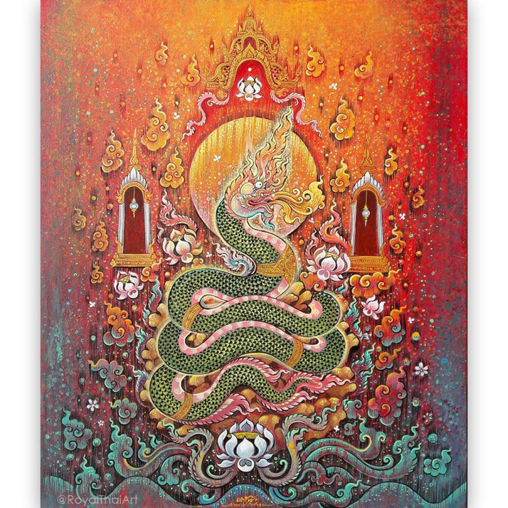 phaya naga art naga snake naga creature naga thailand thai art thailand arts thai paintings oriental decor oriental paintings asian paintings