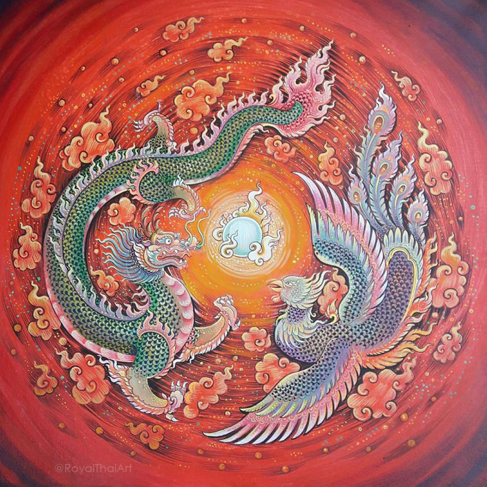 dragon swan painting dragon art dragon painting dragon artwork red dragon painting thailand thai art thailand arts thai paintings oriental decor oriental paintings asian paintings