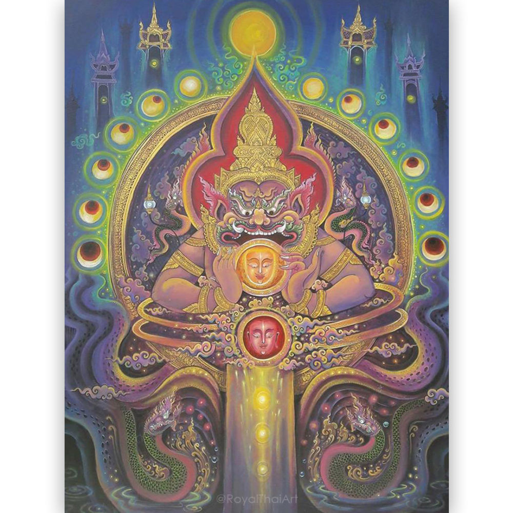 rahu phra rahu lord rahu thai god thailand thai art thailand arts thai paintings oriental decor oriental paintings asian paintings