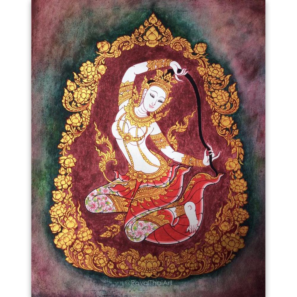 mae thorani phra mae thorani mae thoranee thai gods and demons thai painting thai art thai artist thailand crafts thai wall art