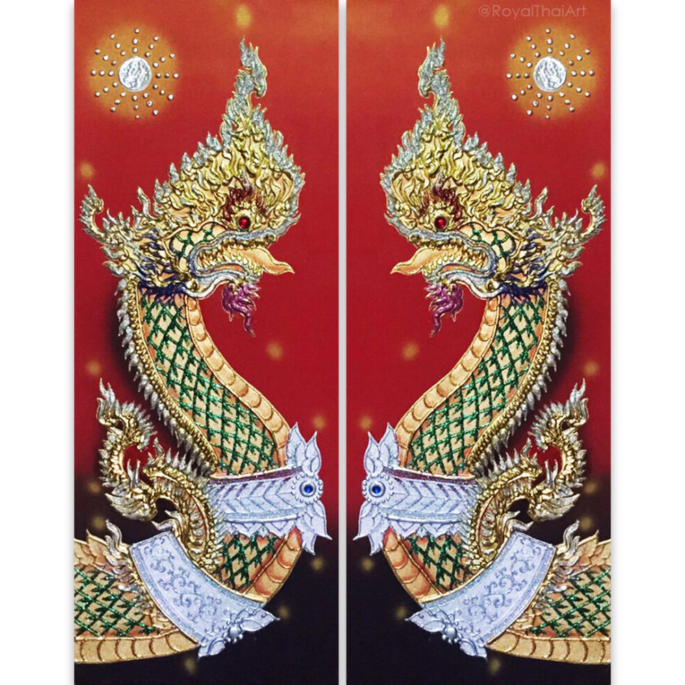 Buy art naga thailand painting naga snake naga creature phaya naga thai art Thailand art thai pattern thai painting traditional thai ancient art