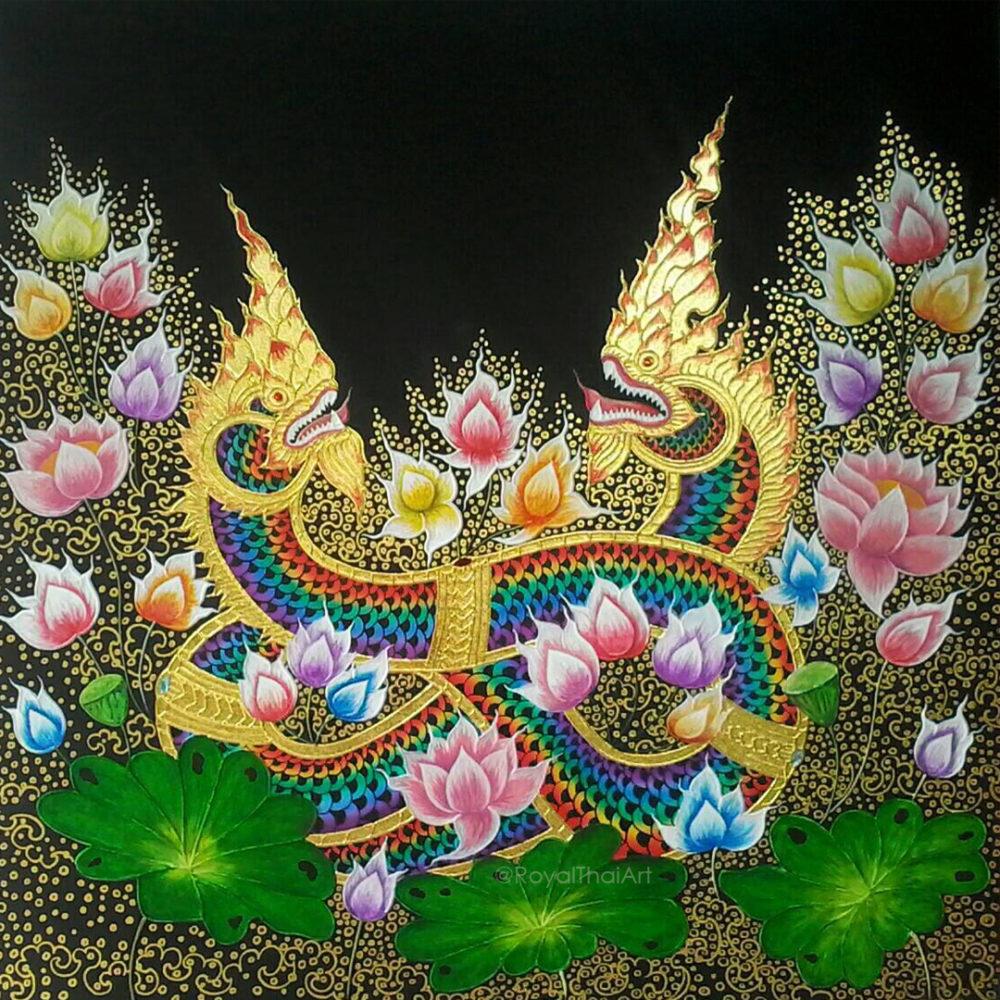 buy art naga thailand painting naga snake naga creature phaya naga thai art thailand art thai pattern thai painting traditional thai ancient art