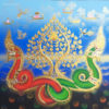 buy art naga thailand painting naga snake naga creature phaya naga thai art thailand art thai pattern thai painting traditional thai ancient art bodhi tree