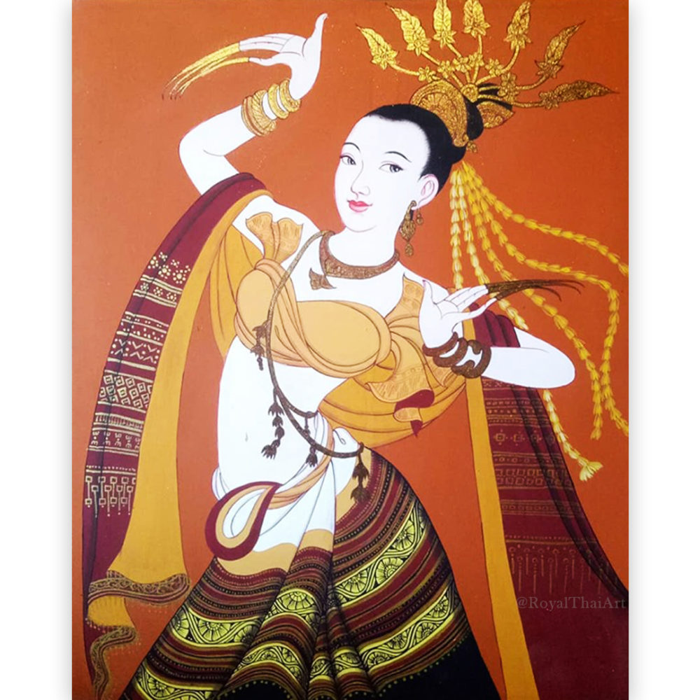 thai lanna beautiful woman painting images girl painting art woman painting on canvas lady painting woman portrait painting female figure painting