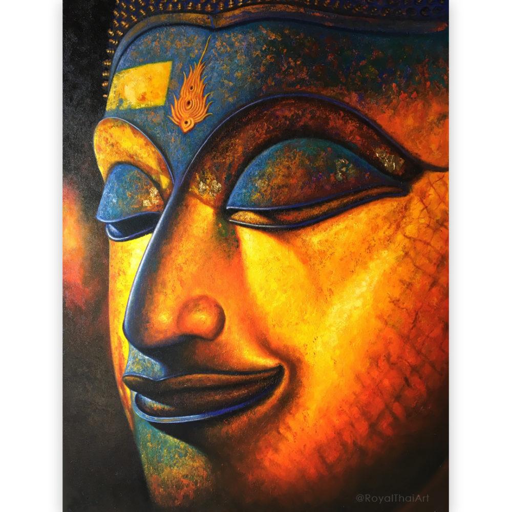 buddha face canvas painting buddha images buddha art buddha painting thai buddha Thailand buddha wall art buddha picture buddha decor buddha canvas painting