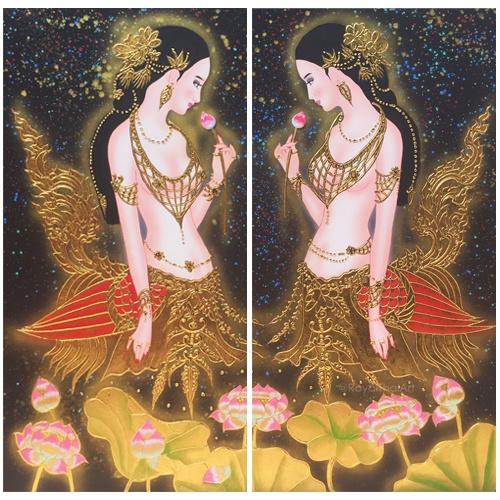 kinnari kinnaree thai famous woman painting lady painting thai woman painting woman art painting woman portrait painting
