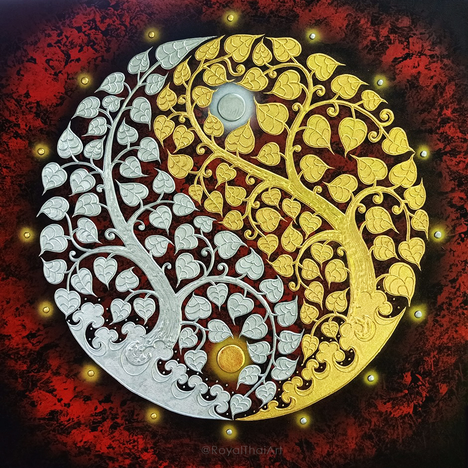 bodhi tree leaf tree art buddha tree wall painting acrylic tree painting abstract tree painting yin yang symbol thai art thailand art thai painting
