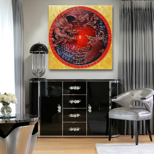 dragon and phoenix art dragon and phoenix painting dragon and phoenix wall art feng shui paintings for living room