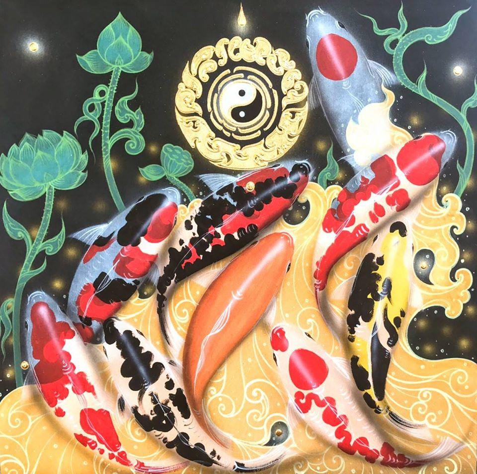 abstract fish painting koi fish painting koi painting koi fish watercolor koi pond painting koi fish acrylic painting koi fish artwork