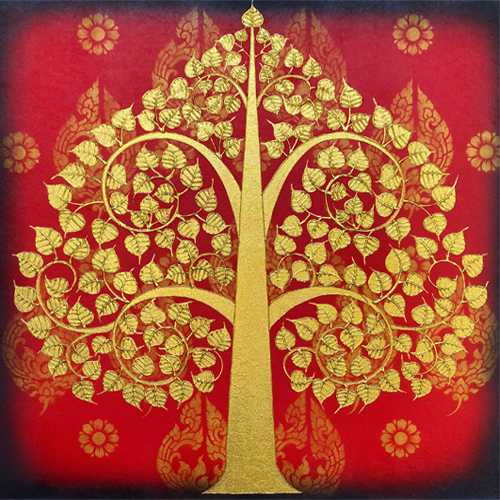 thai bodhi tree painting bodhi leaf bodhi tree wall art bodhi tree symbol bodhi tree images buddhist art thai art thai painting tree art tree painting