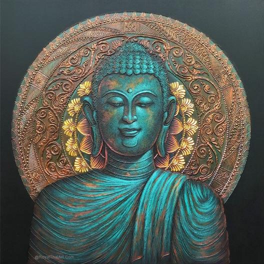turquoise buddha canvas buddha art colorful buddha painting buddha paintings for sale for living room buddha oil painting modern art royal thai art