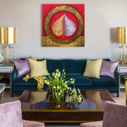 original gold silver bodhi leaf painting for sale