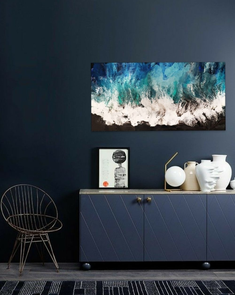 abstract wave painting home interior