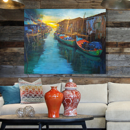 fishing village painting of thailand