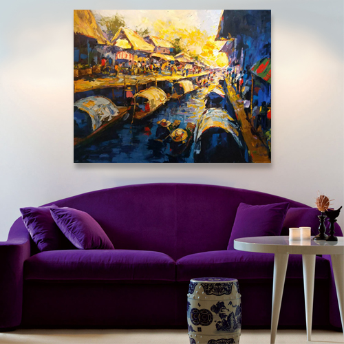 thailand floating market painting for sale