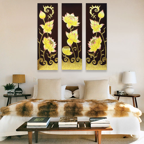 traditional thai lotus painting 3 piece wall art