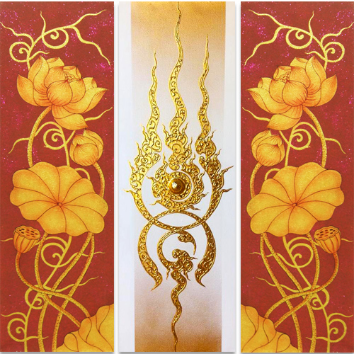 lotus artwork 3 piece wall art gold leaf paint gold leaf wall art thai art lotus flower art lotus art lotus flower canvas wall art lotus painting golden lotus flower