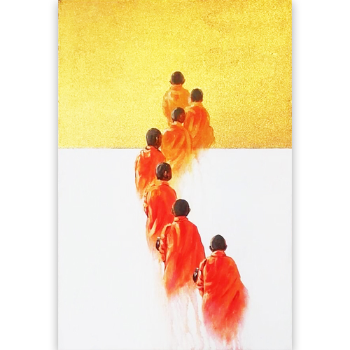monks walking together painting buddhist painting monk painting buddhist monk painting monk art zen buddhist painting buddhist art for sale buddha paintings online