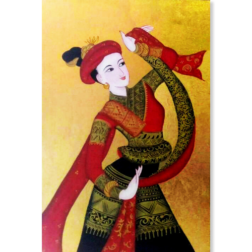 thai woman wall art famous paintings of women thailand wall art thai art female art female painters traditional thai style art gold painting traditional thai art