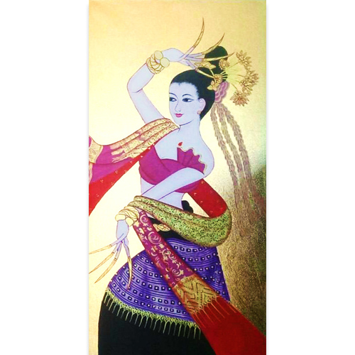 dancing woman painting famous paintings of women thailand wall art thai art female art female painters traditional thai style art gold painting traditional thai art