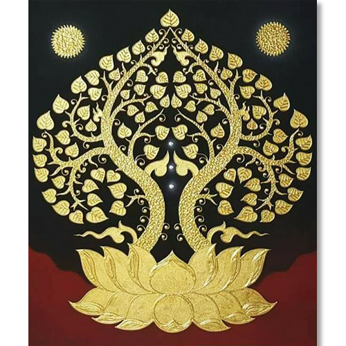 bodhi lotus tree bodhi tree painting bodhi tree wall art buddha painting buddhism painting buddhist painting banyan tree painting golden tree painting asian art