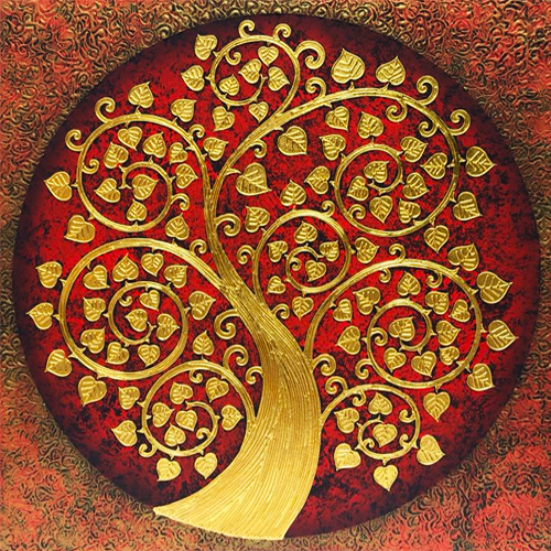 asian tree painting asian art asian wall decor thai painting thai wall art thai artwork bodhi tree painting bodhi tree wall art thai art for sale thai paintings for sale