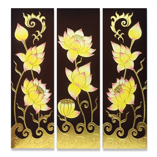 traditional thai lotus painting 3 piece wall art lotus canvas painting lotus flower painting 3 piece canvas art multi piece wall art thailand wall art