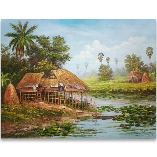 village life painting village painting thai village painting patong paintings phuket artists affordable art in phuket art gallery phuket art shop phuket thai paintings