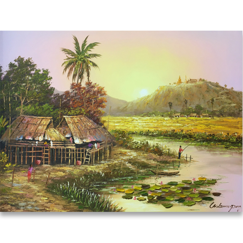 thai village painting rural thai artwork buy thai art patong paintings phuket artists affordable art in phuket art gallery phuket art shop phuket thai paintings