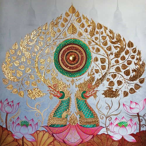 bodhi tree thai art bodhi tree painting bodhi tree wall art thai art for sale online thai paintings for sale thai artwork thai wall art
