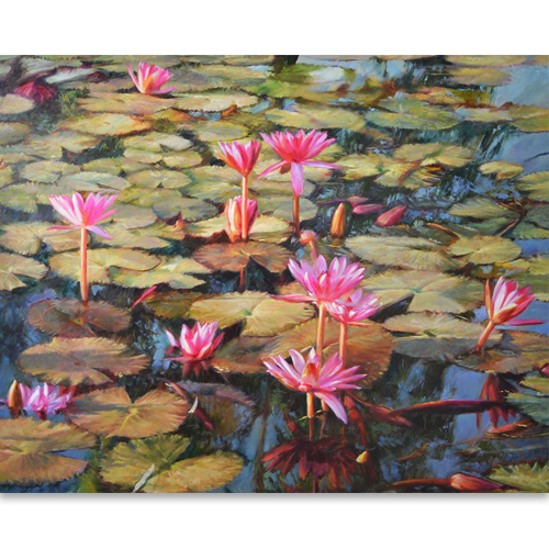 water lilies painting lily pond painting water lily art original oil paintings for sale thailand art thai art for sale online framed oil paintings for sale