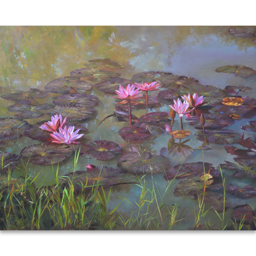 lily pond painting water lilies painting lotus painting lotus flower oil painting water lily art