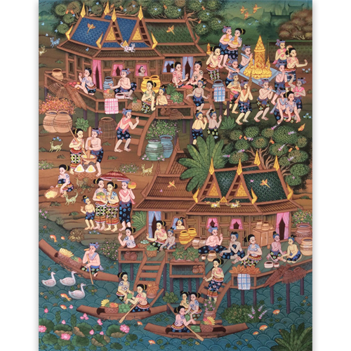 buddhist lent day painting buddhist painting thai art thai painting thai artwork thai wall art thai folk art thai art for sale online thai paintings for sale