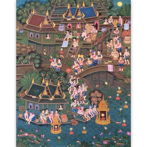 loy krathong painting loy krathong festival thai art thai painting thai artwork thai wall art thai folk art thai art for sale online thai paintings for sale