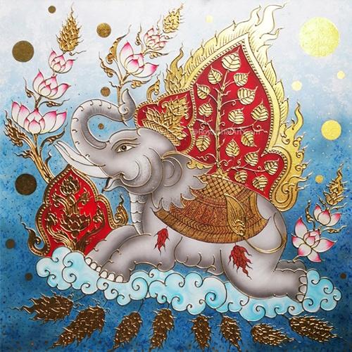 thai elephant art elephant painting famous elephant painting for sale acrylic elephant canvas painting thailand elephant art