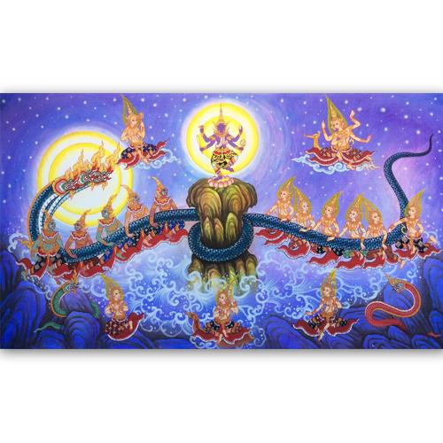 samudra manthan churning of the ocean of milk thai art thai painting thai artwork thai wall art thai art for sale traditional thai artwork