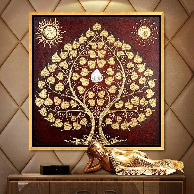 siddhartha bodhi tree thai art bodhi tree painting bodhi tree wall art bodhi tree art buddha painting thai painting thai artwork asian art asian wall art