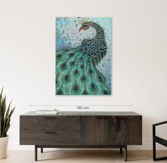 blue peacock painting
