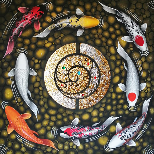 8 koi fish thai art koi fish painting for sale koi fish paintings on canvas famous koi wall art feng shui koi fish art japanese koi painting koi wall art