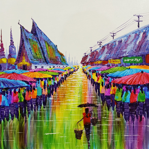 chiang mai painting thailand artwork floating market painting buy thai art for sale colorful acrylic painting market scene painting best market scene paintings