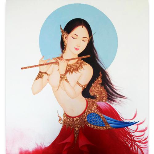 kinnari thai painting thai art for sale thai painting thai artwork thai wall art kinnari bird kinnara bird gods female with bird body