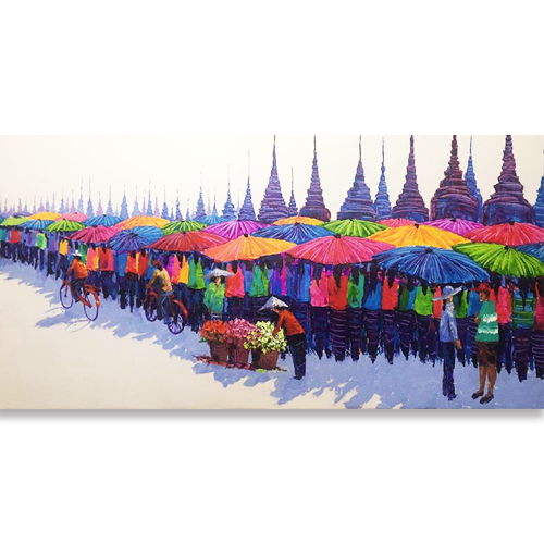 market painting chiang mai art for sale market scene painting village scene painting best market scene paintings colorful acrylic painting thai art for sale