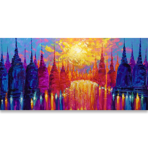stupa painting pagoda painting pagoda art buddhist stupa painting buddhist art buddhist stupa painting stupa buddhism colorful acrylic painting thi art for sale