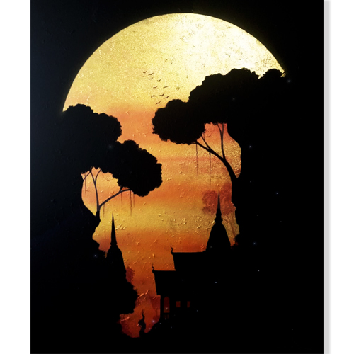 moon canvas art moon painting moonlight painting moon wall art moon painting on canvas moon framed art golden moon full moon art full moon painting moon acrylic painting
