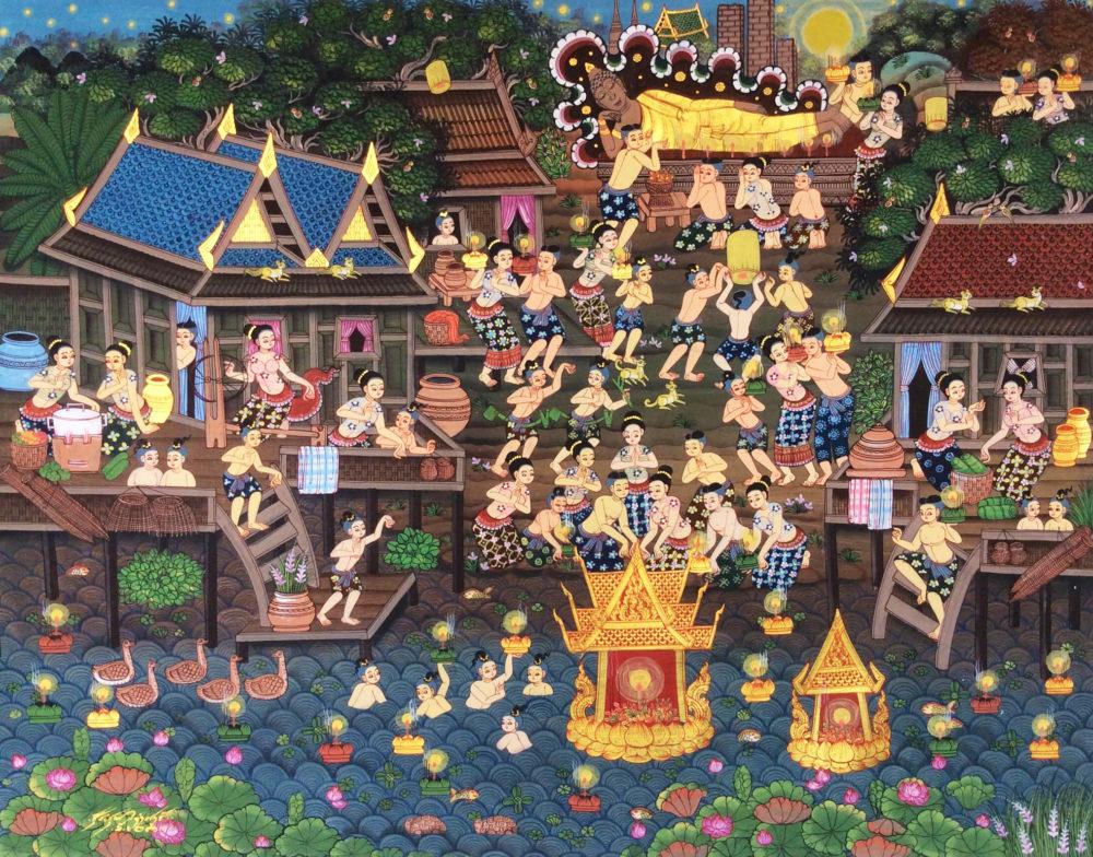 loy krathong royal thai art painting