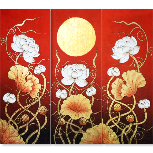 lotus acrylic painting lotus painting lotus flower painting lotus art affordable art online asian wall art thailand art for sale buy chinese painting 3 piece painting home decor